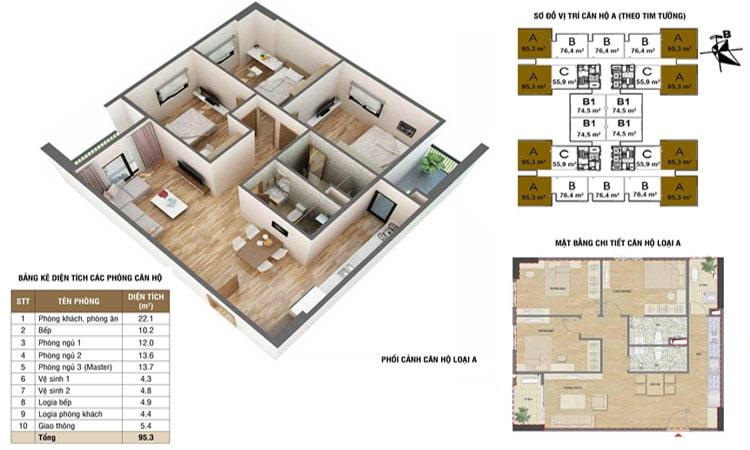 Mặt bằng chi tiết căn 90m2 chung cư 60 Nguyễn Đức Cảnh