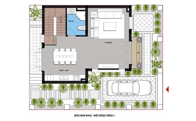 Mẫu BT02 - Tầng 1 dự án Hateco Green City