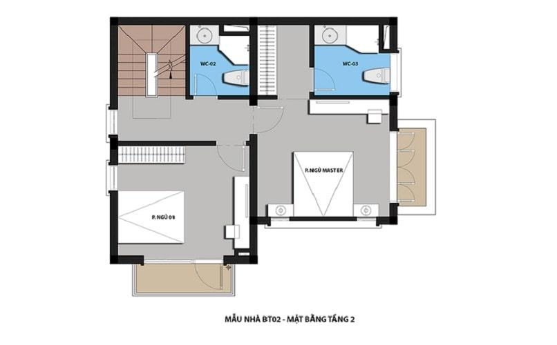 thiết kế mẫu biệt thự 2 - Tầng 2 dự án Hateco 3