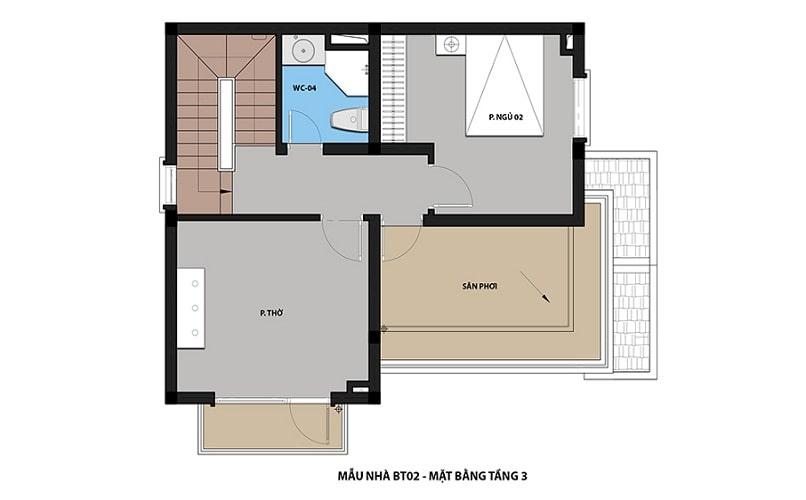 thiết kế mẫu biệt thự 2 - Tầng 3 dự án Hateco 3