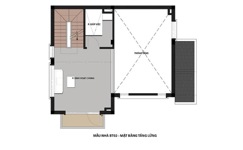 thiết kế mẫu biệt thự 2 - Tầng lửng dự án Hateco 3