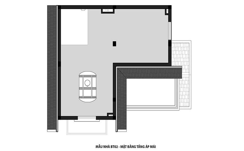 thiết kế mẫu biệt thự 2 - Tầng mái dự án Hateco 3