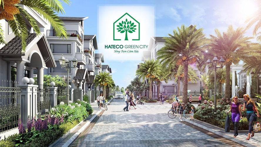 Đường nội bộ với thiết kế mặt cắt 10m tại Hateco Green City