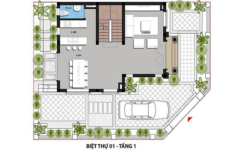 Mẫu Biệt thự 1 - Tầng 1 dự án Hateco 3