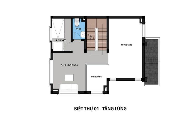 Mẫu Biệt thự 1 - Tầng lửng dự án Hateco 3