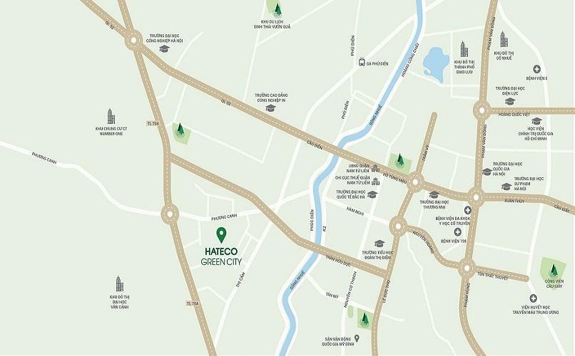 Vị trí dự án Hateco Green City