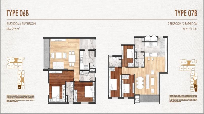 Mặt bằng căn 6B&7B chung cư Chelsea Residences