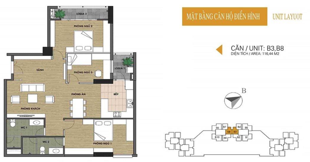 Mặt bằng căn 116.44m2 chung cư UDIC Võ Chí Công