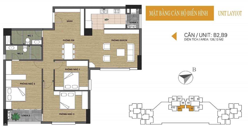 Mặt bằng căn 126.13m2 chung cư UDIC Võ Chí Công