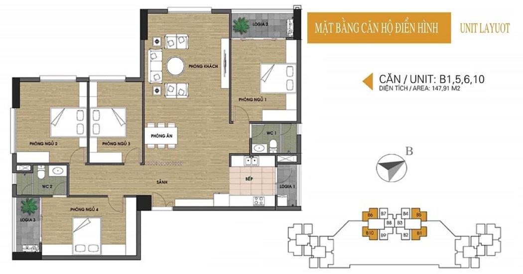 Mặt bằng căn 147.91m2 chung cư UDIC Võ Chí Công