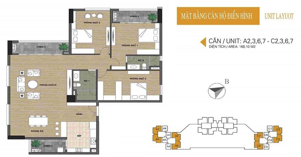 Mặt bằng căn 168.1m2 chung cư UDIC Võ Chí Công