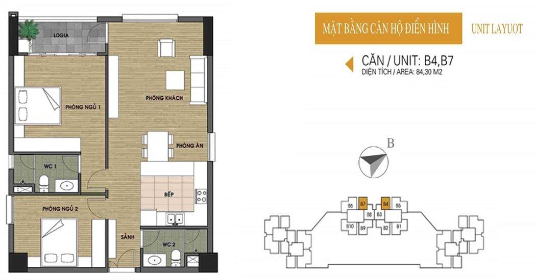 Mặt bằng căn 84.3m2 chung cư UDIC Ciputra