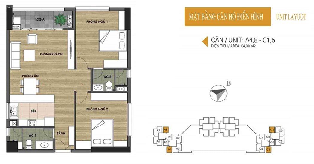 Mặt bằng căn 84m2 chung cư UDIC Ciputra