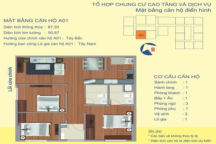 Thiết kế căn A1 UDIC 122 Vĩnh Tuy