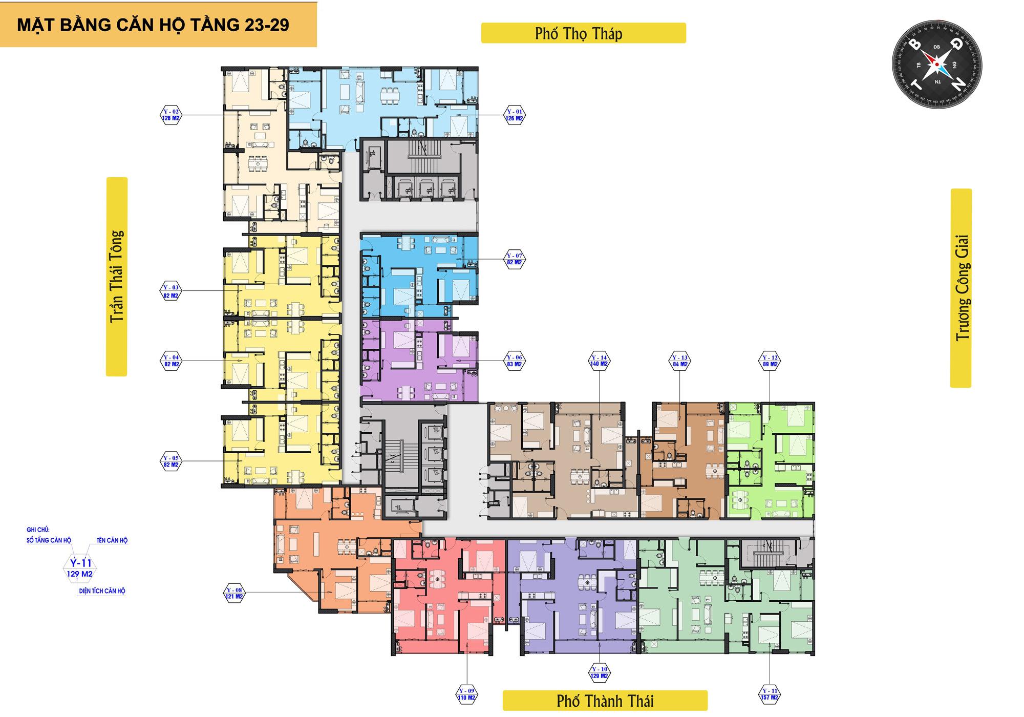 Mặt bằng tầng 23 -29 chung cư The Park Home