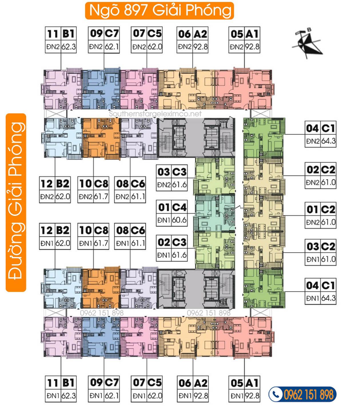 mặt-bằng-tầng-9-17-chung-cư-geleximco-southern-star-giải-phóng