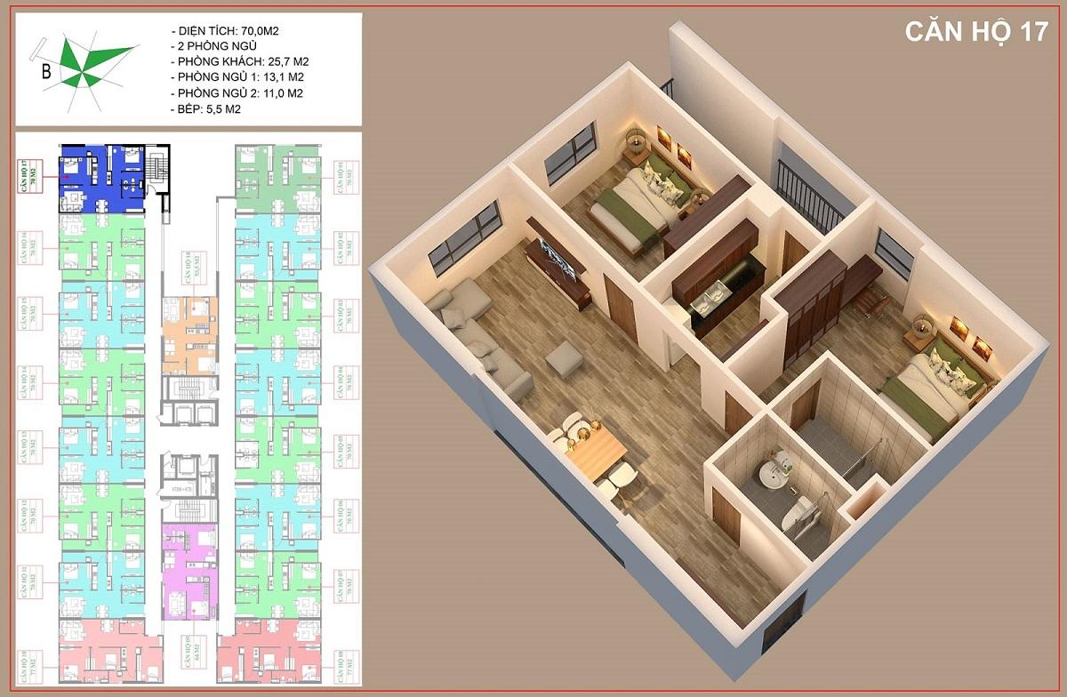 Mặt bằng căn 70m2 - 2PN + 2VS dự án nhà ở xã hội IEC Thanh Trì