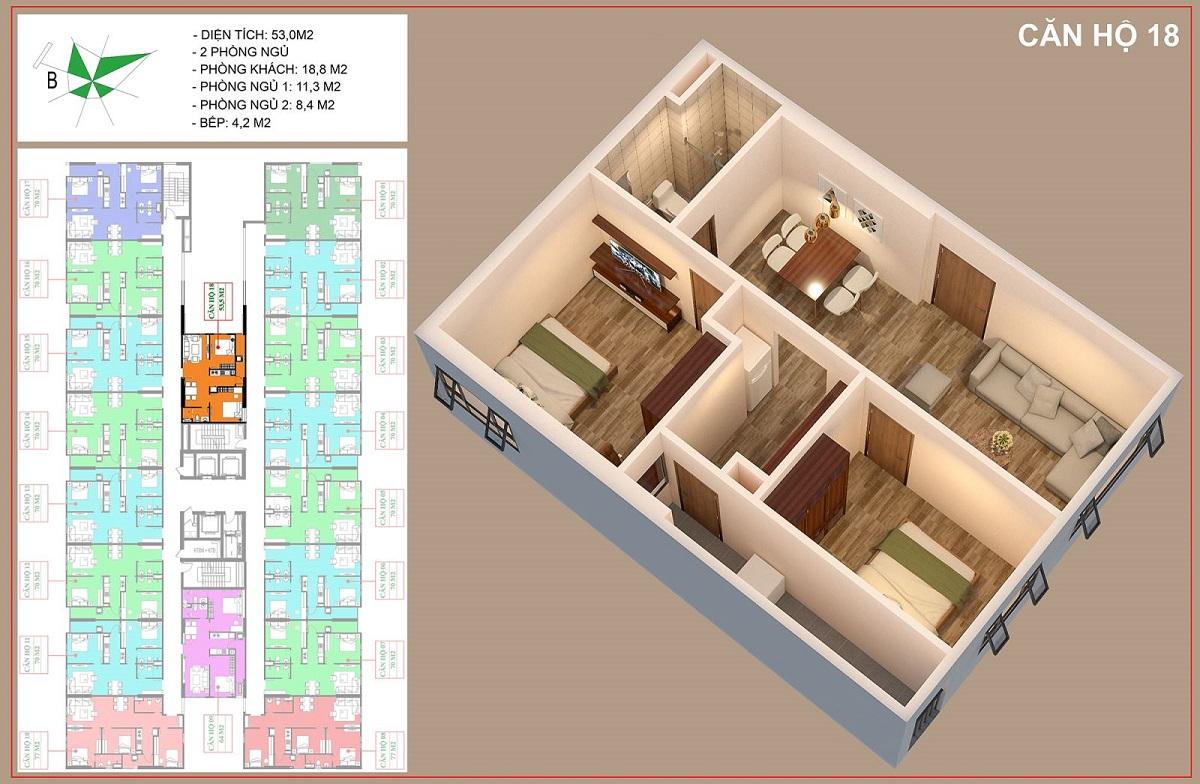 Mặt bằng căn 53,5m2 - 2PN + 1VS dự án nhà ở xã hội IEC Thanh Trì