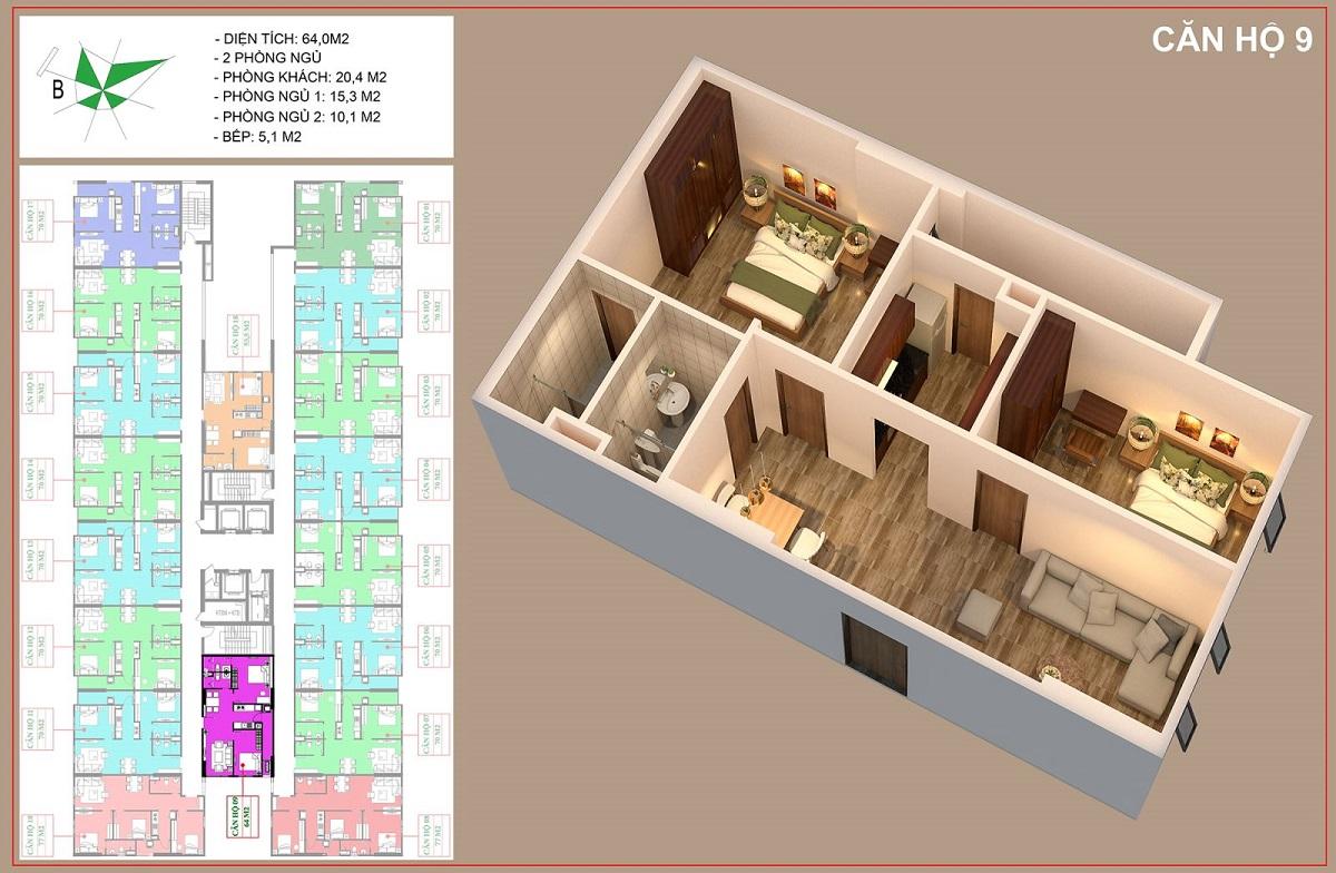 Mặt bằng căn 64m2 - 2PN + 2VS dự án nhà ở xã hội IEC Thanh Trì