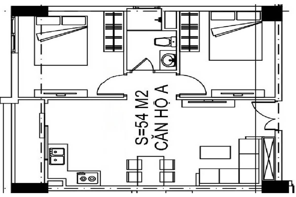 mặt-bằng-căn-54m2-nhà-ở-xã-hội-udic-ecotower-hạ-đình